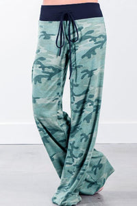 Camouflage Printed Drawstring Wide Leg Pants