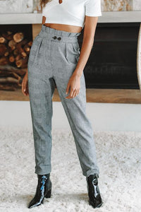 Plaids Pleated High Waist Pants