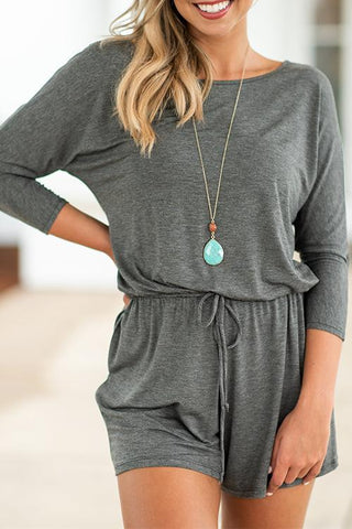 Pockets Drawstring Romper