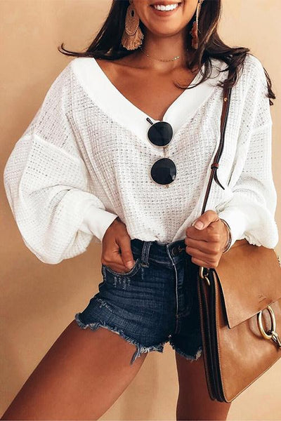 Puff Sleeves V Neck Sweater