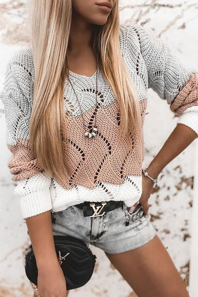 Hollow Color Block V Neck Sweater