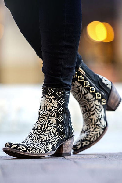 Embroidery Chunky Heels Ankle Boots