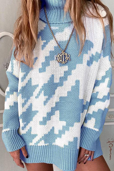 Houndstooth High Collar Sweater