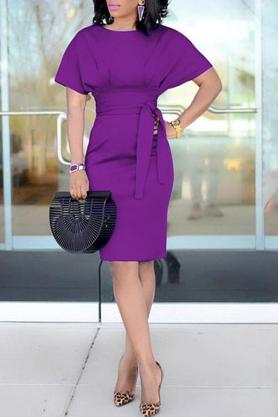Solid Belted Short Sleeve Dress