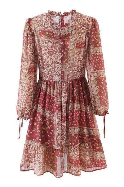 Paisley Floral Print Smock Mini Dress