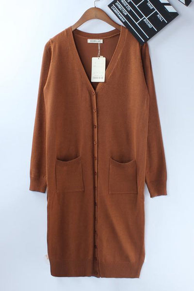 Button Pockets Long Cardigan
