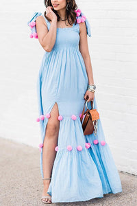 Pom-Pom Lollipop Slit Maxi Dress