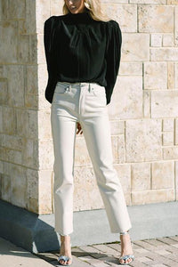 Basic Straight Leg White Jeans