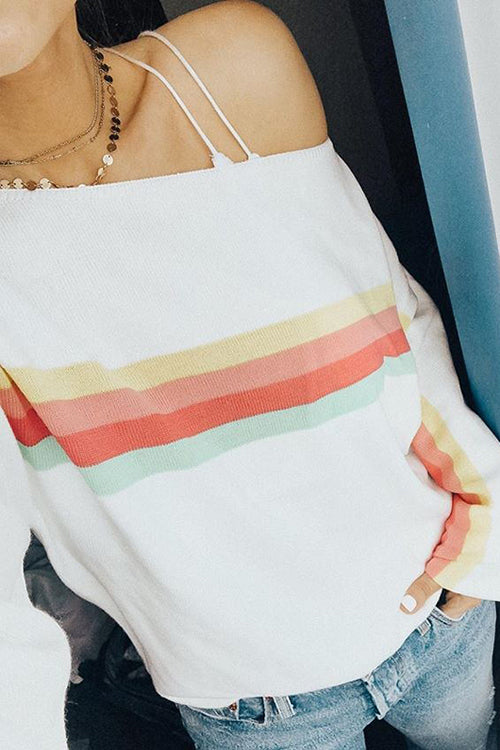Rainbow Stripe One Shoulder Hoodie