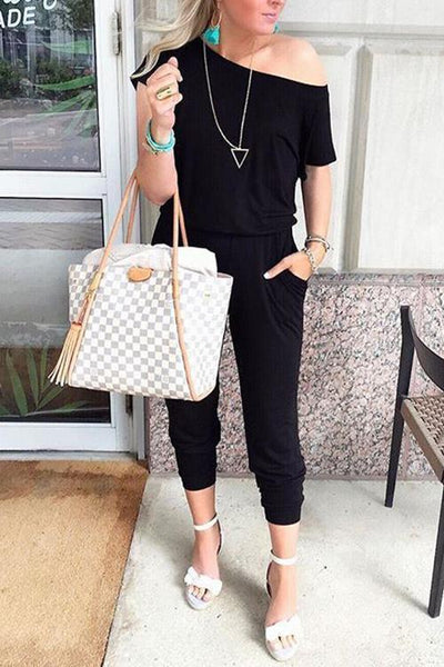 One Shoulder Short Sleeve Jumpsuit