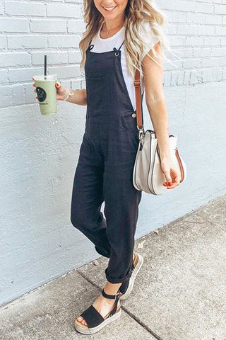 Button Spaghetti Strap Jumpsuit