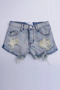 Ripped Button Denim Shorts