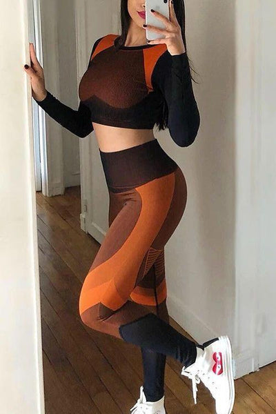 Color Block High Waist Mesh Leggings