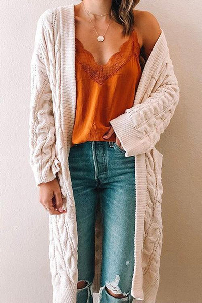 Twist Knit Pockets Cardigan