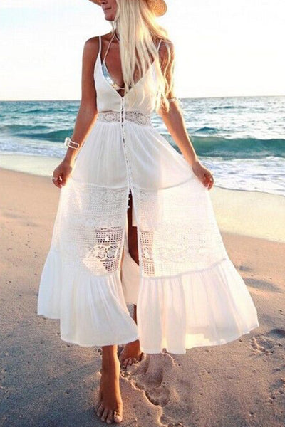 Single Breasted Spaghetti Strap White Lace Dress