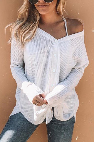 Button V Neck Sweater