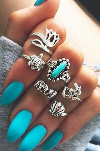 Tortoise Elephant Crown Ring Sets