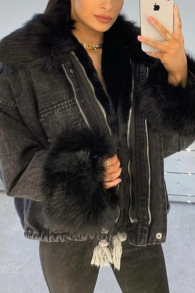 Detachable Fuzzy Faux Fur Collar Denim Coat