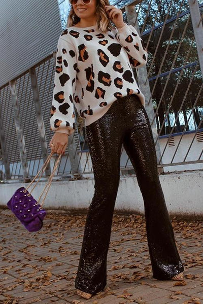 Sequin Wide Flare Pants