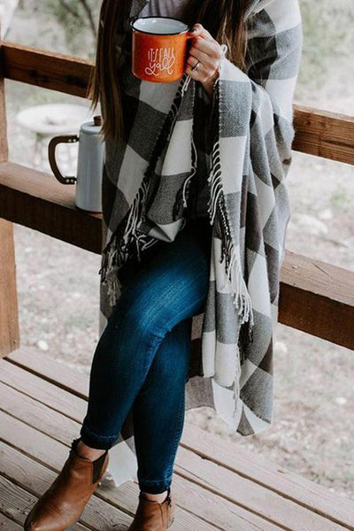 Plaid Tassles Scarf