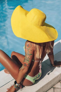 Yellow Straw Wide Brim Hat