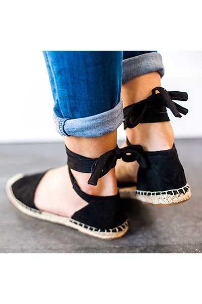 Straw Lace Up Flats Sandals