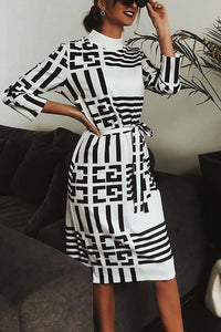 Stripe Print Bleted Long Sleeve Dress