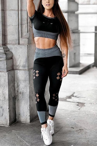 Ripped Patchwork Crop T Shirt Leggings Set