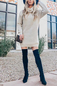 Pockets Cowl Neck Sweater Dress