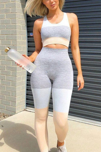 Seamless Color Block Bra Leggings Set