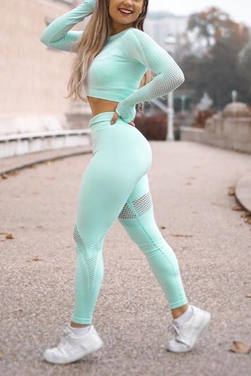 Mesh Patchwork Crop T Shirt Leggings Set
