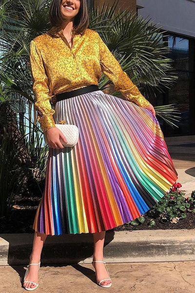 Gradient Stripe Pleated Skirts