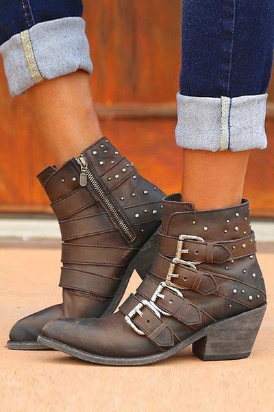 Buckle Zipper Chunky Heel Ankle Boots