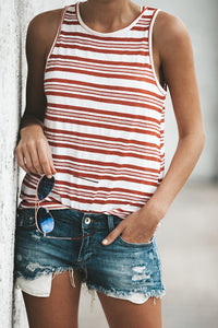 Classic Red White Stripe Sleeveless T Shirt
