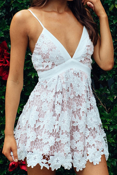 Deep V Neck Spaghetti Strap Lace Mini Dress