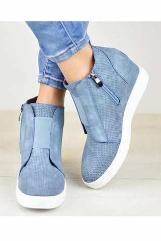 Side Zipper Sneakers Wedges