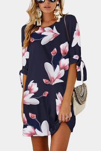 Flower Print Half Sleeve Tunic Dress