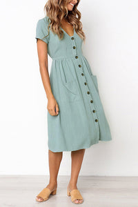 Button Pocket Short Sleeve Dress