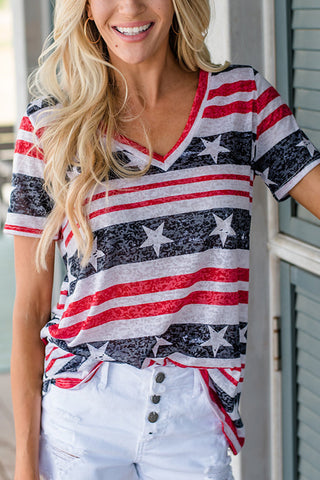 Star Stripe V Neck T Shirt