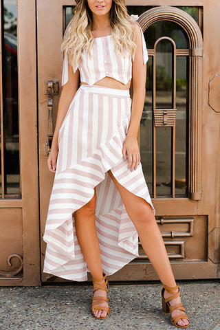 Stripe Slit Ruffles Two Pieces