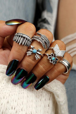 Lotus Feather Leaf Ring Set