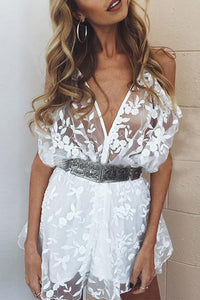 V Neck Cold Shoulder Lace Romper