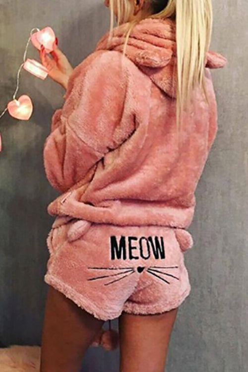 Meow Long Sleeve Hooded Sleepwear Set