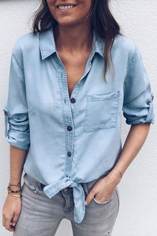 Pocket Half Sleeve Denim Shirt