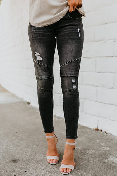 Ripped Slim Fit Black Jeans