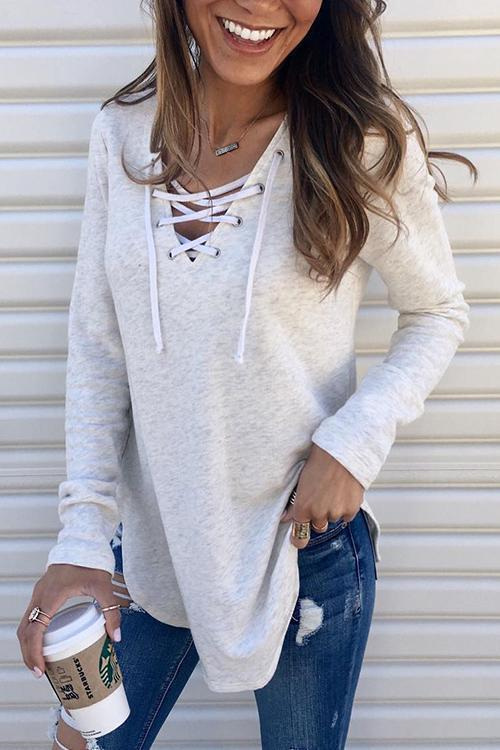 Lace Up Knit T Shirt