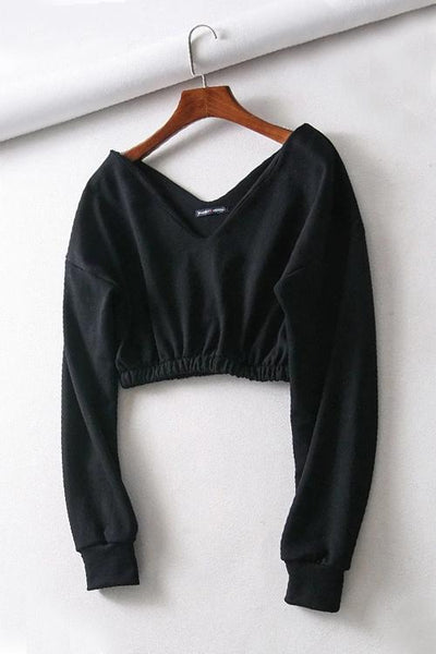 V Neck Long Sleeve Crop Top