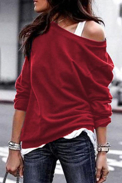 One Shoulder Long Sleeve Hoodie