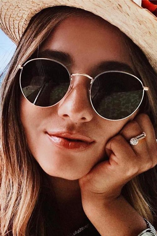 Oval Wayfarer Metal Sunglasses