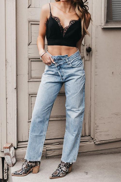 Irregularity Waist Straight-leg Jeans